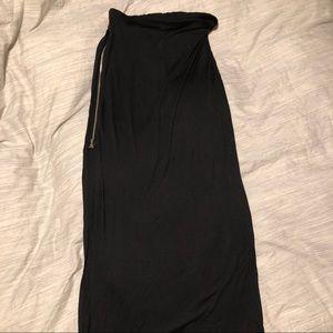 Long black skirt with size slip zipper